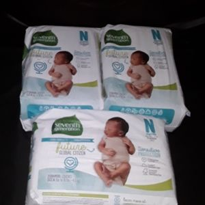 3 Pkgs Seventh Generation Newborn  Diapers